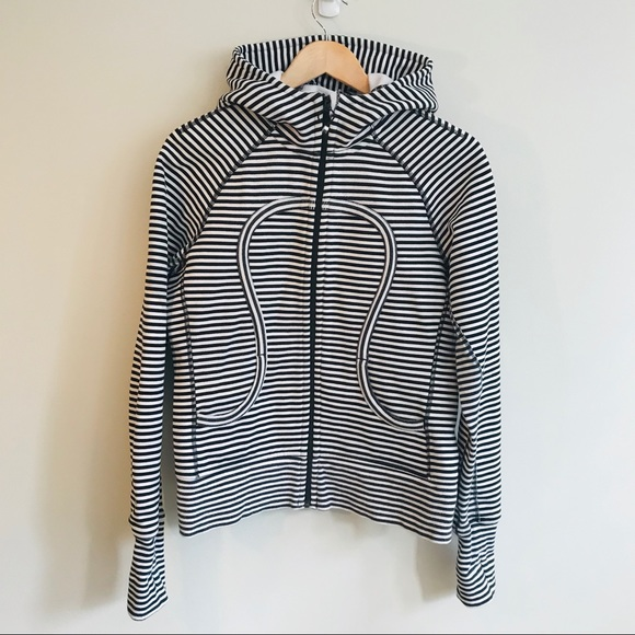 lululemon athletica Jackets & Blazers - Lululemon Striped Scuba Hoodie In Black/White